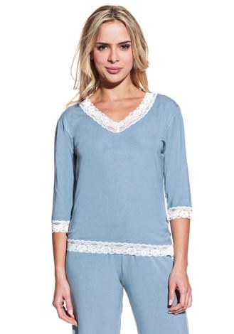 Luisa Moretti Dámské bambusové pyžamo ROZALIE modrošedá S