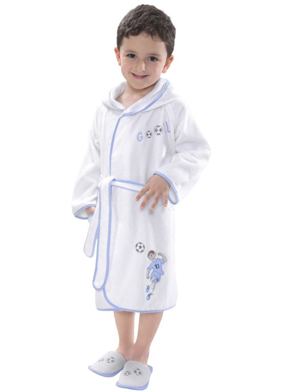 Soft Cotton Dětský župan FOOTBALLER s kapucí v dárkovém balení bílo-modrá 140