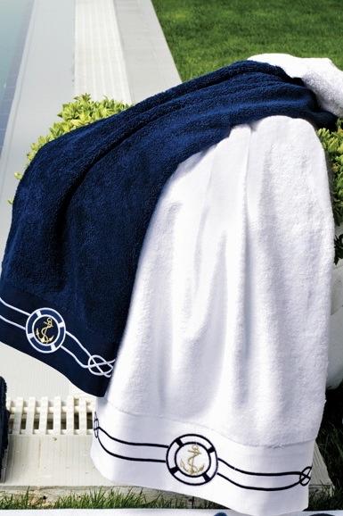 Soft Cotton Sada Ručníků MARINE MAN 50x100 cm + 85x150 cm Bílá XXL + papučky (42/44) + dárkové balení