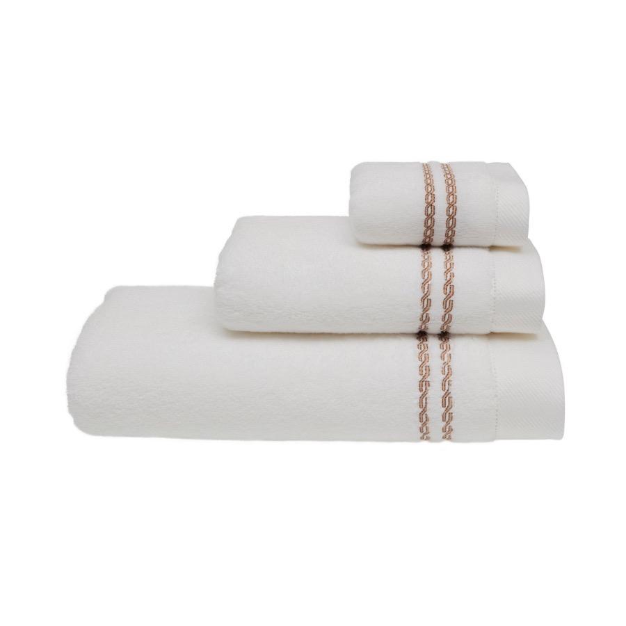 Levně Sada ručníků a osušky CHAINE, 3 ks Bílá / béžová výšivka,Sada ručníků a osušky CHAINE, 3 ks Bílá / béžová výšivka