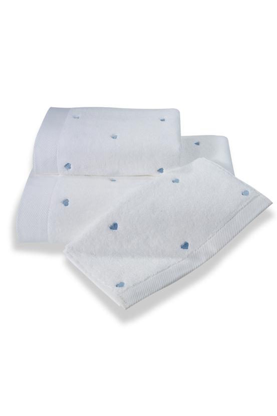 Levně Dárkové balení ručníků a osušky MICRO LOVE, 3 ks Bílá / modré srdíčka,Dárkové balení ručníků a osušky MICRO LOVE, 3 ks Bílá / modré srdíčka