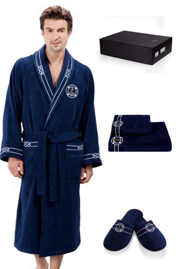 Soft Cotton Luxusní pánský župan s ručníkem a pupučemi MARINE MAN v dárkovém balení Tmavě modrá S + papučky (40/42) + ručník + box